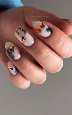 Chic Nails, Stylish Nails, Trendy Nails, Chic Nail Art, Fall Acrylic Nails, Metallic Nails, Nail Manicure, Gel Nails, Lines On Nails