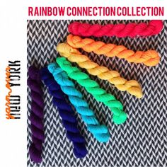 Hand-dyed yarn, Indie dyed yarn, hand dyed yarn MINIS Rainbow Connection Collection -- dyed to order -- Times Square sock merino/ nylon yarn