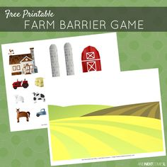 Free printable farm themed barrier game for speech therapy - great for kids with autism and hyperlexia from And Next Comes L