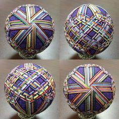 Life in the Eye of a Needle : Photo Japanese Ornaments, Temari Patterns, Paper Balls, Quilted Ornaments, Christmas Balls, Diy Christmas, Christmas Ornaments, Holiday, Thread Art