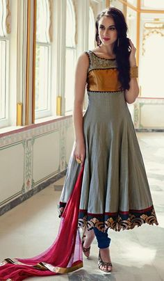 G3 fashions Grey Cotton Wedding Wear Designer Salwar Suit  Product Code : G3-LSA104312 Price : INR RS 7120