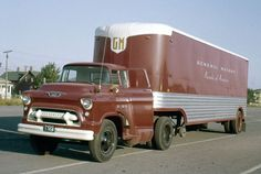 National Auto and Truck Museum obtains only known Parade of General Motors Progress trailer.The tractor is a Chevrolet. Big Rig Trucks, Gm Trucks, Diesel Trucks, Cool Trucks, Truck Flatbeds, Lego Truck, Shop Truck, Dually Trucks, Pickup Trucks