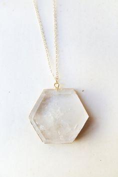 quartz geometric necklace