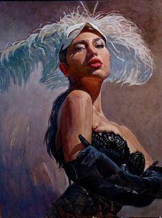"""Niki"" - Michael Foulkrod, 2013, oil on canvas {contemporary artist mask feathers female décolletage #showgirl woman face portrait painting} Voluptuous !!"