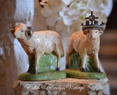 Vintage Pr Sheep Statues Figures Chalkware by edithandevelyn