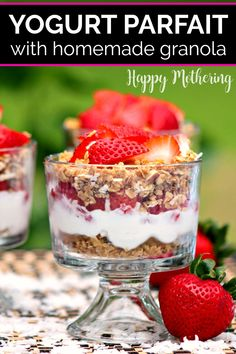 Learn how to make the best Strawberry Yogurt Parfait in this easy breakfast idea. Includes bonus recipe for homemade gluten free granola too! Swap berries for your favorite fruit and Greek Yogurt for coconut yogurt for a dairy free option. Serve in a mason jar for a fun and healthy way to start the morning. #parfait #yogurtparfait #strawberryparfait #strawberries #yogurt #granola #homemadegranola #breakfast #breakfastrecipes #breakfastideas #easybreakfasts #easyrecipes #glutenfree Strawberry Parfait, Yogurt Parfait, Strawberry Recipes, Coconut Milk Yogurt, Greek Yogurt, Real Food Recipes, Cooking Recipes, Free Recipes, Snack Recipes