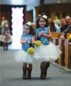 rustic country flower girl cowboy boots / http://www.deerpearlflowers.com/flower-girl-dresses-for-country-weddings/