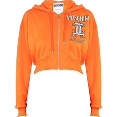 Moschino Printed hooded cotton sweatshirt with zip (1,490 SAR) ❤ liked on Polyvore featuring tops, hoodies, sweatshirts, zipper sweatshirt, cotton sweatshirt, orange sweatshirt, zip top and zipper top