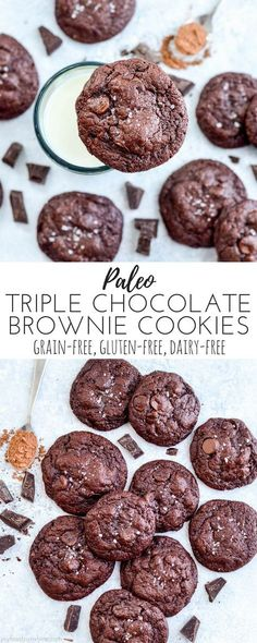 Paleo Triple Chocolate Brownie Cookies! The name says it all! The most fudgy, chocolatey cookies you will ever eat, and you'll never believe they're paleo, grain-free, gluten-free, dairy-free and refined-sugar free! paleo dessert sugar free