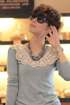 Love the sweater with lace Collar