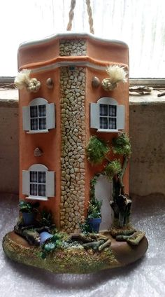 Bottle Art, Bottle Crafts, Clay Wall Art, Paperclay, Fairy Land, Recycling, Driftwood, Bird Feeders, Garden Art