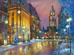 Elgin Street Magic - fine art painting by Ottawa artist Elena Khomoutova