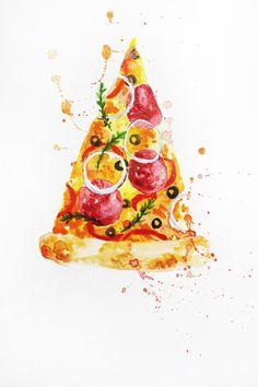 ORIGINAL Watercolor Painting, Pizza Watercolor, Food Painting, Kitchen art, Italy Food, artwork, Wall Decor, Food Illustration OOAK by MaryArtStudio on Etsy