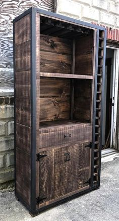 These stunning Rustic Industrial Wine Cabinets are the perfect way to organize your bottles and glasses. Built from genuine rough sawn barn board and steel corners and trim, these cabinets can be built to any size, layout and finish you would like. Industrial Design Furniture, Industrial Interiors, Metal Furniture, Furniture Projects, Rustic Furniture, Vintage Furniture, Diy Furniture, Furniture Design, Wood Projects