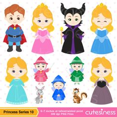 Princess Series 10 Digital Clipart : 26 Graphics    ----------------------- ★★ Package Included ★★-----------------------------------    *You will