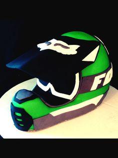 Dirt bike helmet cake.