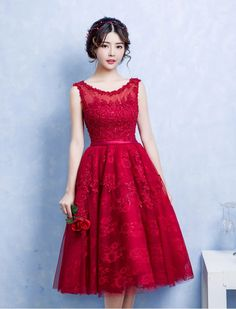 1950s Inspired Sweetheart Lace Prom Dress