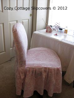 Pink Damask Office Chair Slipcover