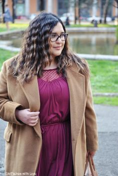 MFashion With Love: Cappotto cammello e abito burgundy || Curvy || Plus size || Outfit