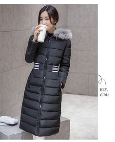 FIVE PANDA 2016 New Winter Fur Collar Cotton-padded Jackets Womens Thick Warm Parka Long Black Ladies Winter Coat NMY024