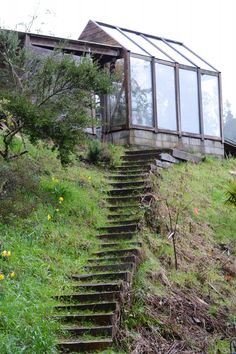 built-in stairs to a lovely greenhouse.