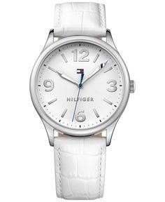 Tommy Hilfiger Women's White Leather Strap Watch 38mm 1781594