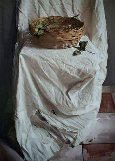 """Giovanni Marziano... """"Piccolo cesto sul drappo bianco""""  http://realismoenlapintura.com/2014/05/17/2-000-000-de-visitas-en-realismo-en-la-pintura/"""