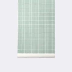 Grid Wallpaper in Dusty Green design by Ferm Living Ferm Living Wallpaper, Grid Wallpaper, Kitchen Wallpaper, Pattern Wallpaper, Mid Century Interior Design, Mid-century Interior, Home Interior Design, Modern Wallpaper Designs, Hidden Spaces