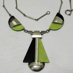Art Deco Jakob Bengel Necklace Galalith & Chrome 1930s Machine Age Germany from Adore at rubylane.com