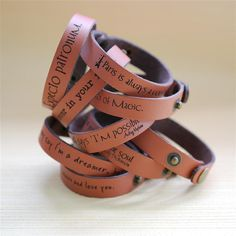 "Your favorite quote --- custom engraved 1/2"" leather bracelet. $12.95, via Etsy."