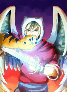 Adventure time finn. I still don't get why finn doesn't use any of the powers he got from this episode I mean the fings and sword/tiger arms would of come in handy a lot (no pun intended)