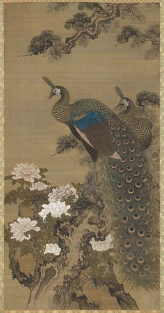 Peafowl and Peonies Edo period Sô Shizan (Japanese, Peacock Painting, Peacock Art, Peacock Decor, Peacock Images, Japanese Bird, Asian Artwork, Japan Illustration, Peafowl, Zen Art