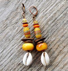 Tribal Earrings Tibetan Copal Earrings Boho by ZenCustomJewelry