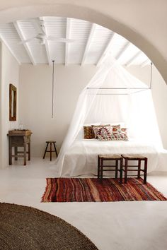 San Giorgio Mykonos Hotel in Mykonos, Greece is a luxury design hotel. San Giorgio Mykonos Hotel, between Paradise & Paraga Beach, offers stylish rooms. Dream Bedroom, Home Bedroom, Bedroom Ideas, Canopy Bedroom, Airy Bedroom, Canopy Beds, Design Bedroom, Modern Bedroom, Bed Ideas