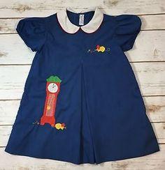 Vintage 80s Imperial Hickory Dickory Dock Shift Dress Toddler Girl Size 4 Blue  | eBay