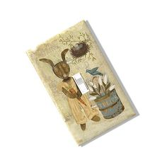 Spring Bunny Primitive Light Switch Plate Cover Rustic Rabbit