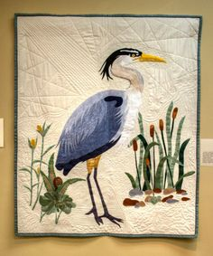 Solitary Heron by Lynette Brown. #Quilt Artists of Kentucky