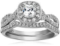 Sterling Silver Platinum-Plated Swarovski Zirconia Round Brilliant Infinity band Ring, Size 8