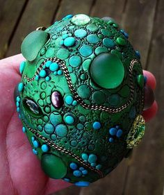 Art: Dragon Egg Paperweight polymer clay.