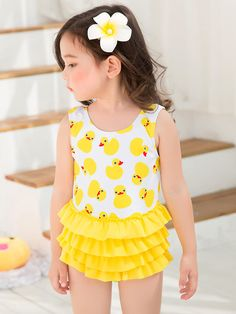 1db83b80eba New Summer girls one piece swimsuit with swimming cap yellow swimwear baby  girl yellow bathing suit child duck swim suit