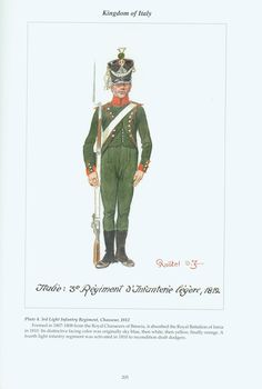 Kingdom of Italy: Plate Light Infantry Regiment, Chasseur, 1812 Kingdom Of Naples, Kingdom Of Italy, Empire, Italian Army, National History, French Army, Napoleonic Wars, Military History, Troops