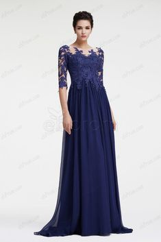 Navy blue mother of the bride dress with sleeves plus size formal dress