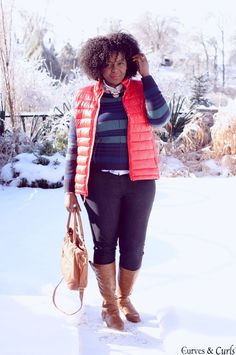 Plus Size Fashion - how to wear a puffer vest - #plussize