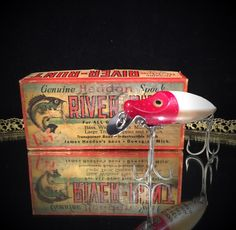 A personal favorite from my Etsy shop https://www.etsy.com/listing/248959700/antique-wooden-fishing-lure-heddon-spook