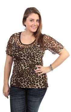 Deb Shops  size #cheetah print lace top