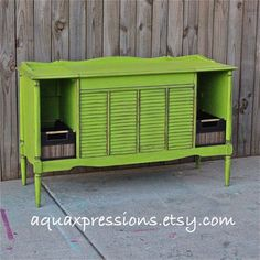 Love this lime green distressed paint.