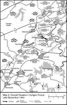 Forêt de Hürtgen Situation carte, fin novembre 1944 Hürtgen Forest Situation Map, late November 1944