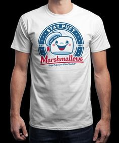 """Marshmallow Logo"" is today's £8/€10/$12 tee for 24 hours only on www.Qwertee.com Pin this for a chance to win a FREE TEE this weekend. Follow us on pinterest.com/qwertee for a second! Thanks:)"