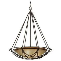 The El Nido three light chandelier in mocha bronze. A bowl of striated ivory glass sits inside an interwoven steel frame. A beautiful light for the entryway.