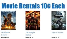 HD Movie Rentals only 10¢ Each - Terminator Genisys, Jurassic World, and Hunger Games - http://www.swaggrabber.com/?p=283828